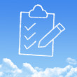 Clipboard icon cloud shape — Stock Photo