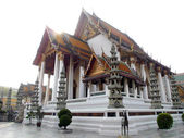 BANGKOK, THAILAND - JANUARY 4 :The Chapel of Wat Suthat on January 3,2012 in Bangkok, Thailand. There is royal temple at the Giant Swing in Bangkok in Thailand.Wat Suthat is a temple of Rama 8 reign.  — Stock Photo