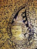 Bangkok, tailândia - 4 de janeiro: arte de pintura tradicional tailandês sobre história de ramayana em exposição no templo parede wat suthat em 4 de janeiro de 2012 em bangcoc, tailândia — Fotografia Stock