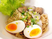 Thai noodle soup with pork ball and egg — Stock Photo