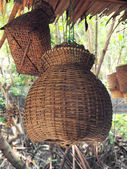 Bamboo fish trap Thai bamboo basket for farmer use to keep trapped fish — Stock Photo