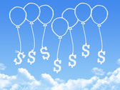 Cloud shaped as money balloon — Stock Photo