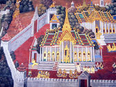 BANGKOK - THAILAND - October 06: A scene from the Ramakien in Wat Phra Kaew, Bangkok, Thailand on October 06, 2013. The Ramakien is Thailand's national epic, derived from the Hindu epic Ramayana. — Stockfoto
