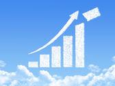 рост прогресса стрелка граф облако форма — Стоковое фото