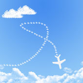 Plane on Cloud shaped ,dream concept — Stock Photo