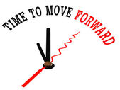 Time to move forward on a white clock — Stock Photo
