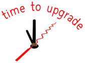 Time to upgrade with clock concept — Stock Photo