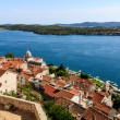 Panoramic View of Sibenik and Saint James Cathedral from Above, - Foto de Stock  