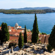 Panoramic View on Saint James Cathedral and City of Sibenik, Cro - Stockfoto