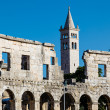 White Church and the Ancient Roman Amphitheater in Pula, Istria, — Stock Photo