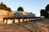 Row of Cannons in the Medieval Castle in Pula, Istria, Croatia — Stock Photo