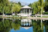 Picturesque Landscape, Pavilion, River and Willow, Solin, Croati — Stock Photo