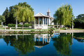 Picturesque Landscape, Church, Pavilion, River and Willow, Solin — Stock Photo