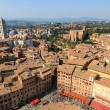 Aerial View on Piazza del Campo, Central Square of Siena, Tuscan — Stock Photo
