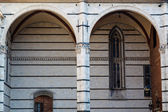 Detail of the Beautiful and Rich Facade of the Cathedral of Sien — Stock Photo