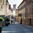 Curved Street and Medieval Castle in Montalcino, Tuscany, Italy — Stock Photo #13366238