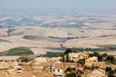 View of the Roofs and Landscape of a Small Town Montalcino in Tu — Stock Photo