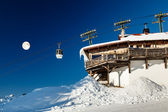 Full Moon and Gondola on Upper Cable Lift Station in French Alps — Stock Photo