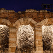 Ancient Roman Amphitheater on Piazza Bra in Verona at Night, Ven - Stock Photo