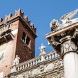 Stock Photo: Piazzdelle Erbe and Lion of Saint Mark in Verona, Veneto, Ital
