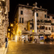Saint Mark Column and Piazza delle Erbe at Night, Verona, Veneto — Stock Photo