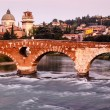 View of Adige River and Saint Peter Bridge in Verona, Veneto, It — 图库照片 #14006783