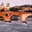 Stockfoto: View of Adige River and Saint Peter Bridge in Verona, Veneto, It