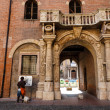 Ornate Marble Arch and Balcone in Verona, Veneto, Italy — Stock Photo