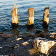 Stock Photo: Wooden Poles in Lake Gardnear Sirmione, Lombardy, Italy
