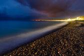 Romantic Cote d'Azure Beach at Night, Nice, French Riviera, France — Zdjęcie stockowe