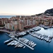 Aerial View on Fontvieille and Monaco Harbor with Luxury Yachts, — Stock Photo #15700645