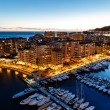 Aerial View on Fontvieille and Monaco Harbor with Luxury Yachts, - Stock Photo