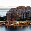 Stock Photo: Aerial View on Illuminated Fontvieille and Monaco Harbor, French