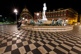 The Fontaine du Soleil on Place Massena at Night, Nice, French R — Stock Photo