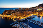 Aerial View on Fontvieille and Monaco Harbor with Luxury Yachts, — Foto de Stock