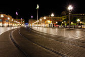 Tramline on Place Massena at Night, Nice, France — Stock Photo
