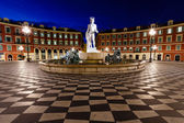 The Fontaine du Soleil on Place Massena in the Morning, Nice, Fr — Stockfoto
