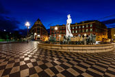 The Fontaine du Soleil on Place Massena in the Morning, Nice, Fr — Stock Photo