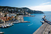 Aerial View on Port of Nice and Luxury Yachts, French Riviera, F — Stock Photo