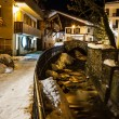 Illuminated Street of Megeve in French Alps, France — Stock Photo
