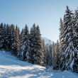 Stock Photo: Ski Slope and Beautiful Landscape in Megeve, French Alps, Franc