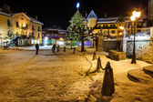 Illuminated Central Square of Megeve on Christmas Eve, French Al — Stock Photo