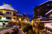 Illuminated Street of Megeve on Christmas Night, French Alps, Fr — Stock Photo