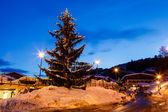 Illuminated Christmas Tree in th Village of Megeve, French Alps, — Stock Photo