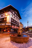 Beautiful Fountain in Megeve At Morning, French Alps — Stock Photo