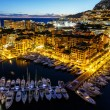Aerial View on Fontvieille and Monaco Harbor with Luxury Yachts, — Stock Photo #18960139