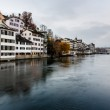 Zurich Skyline and the River Limmat in the Evening, Switzerland — Stock Photo #18960525