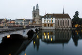 View on Grossmunster Church and Zurich Downtown in the Evening, — Stock Photo