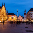 Marienplatz in the Evening, Munich, Bavaria, Germany — Stok fotoğraf
