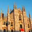 Milan Cathedral (Duomo di Milano) is the Gothic Cathedral Church — Stock Photo